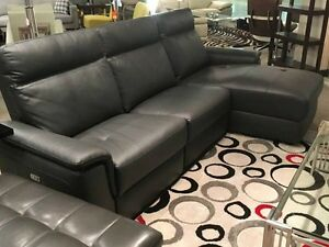 Grey Top Grain Leather R/S/F Sectional Sofa - $2850