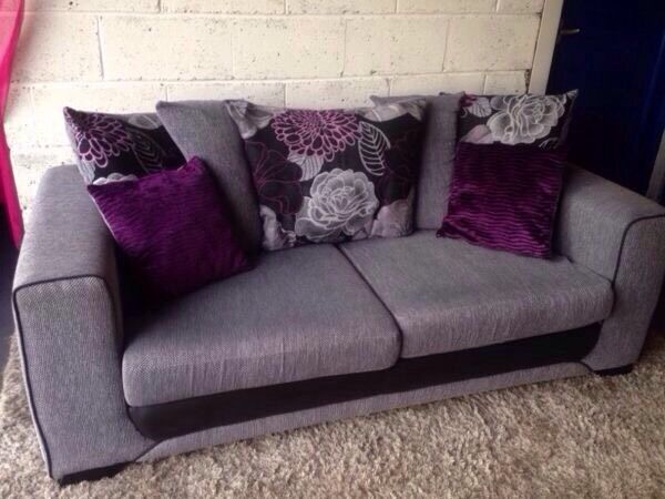 Grey Fabric 3 Seater Sofa With Black Trim And Purple, Black , Grey Back  Scatter