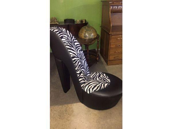 Superieur Black U0026 White Zebra Print Stiletto High Heel Faux Leather Shoe Chair