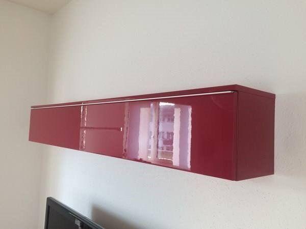 Ikea Besta Burs High Gloss Red Wall Cabinet