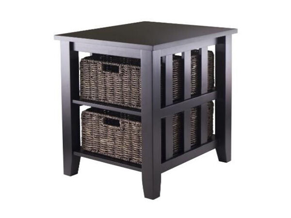 The Morris 92312 End Table Boasts A Solid And Composite Wood Construction  And Comes In Black With An Espresso Finish. The Table Portion Of The Piece  ...