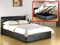 BRAND NEW- KINGSIZE 5FT LEATHER STORAGE BED AND SEMI ORTHOPAEDIC MATTRESS - SINGLE / DOUBLE AVAILBLE