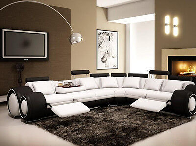 Contemporary Italian Design White & Black Franco Modern Sectional Designer Sofa  Modern Black Leather Sofa