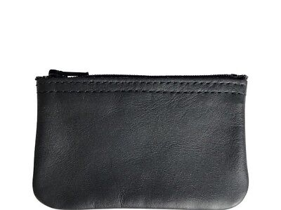New Mens or Womens Black Leather Zippered Coin Pouch / Purse / Change U.S.A Black Leather Zipper