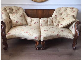 Walnut French Style Antique/Vintage Conversation Sofa-Chairs