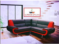 RED AND BLACK FAUX LEATHER CORNER SOFA