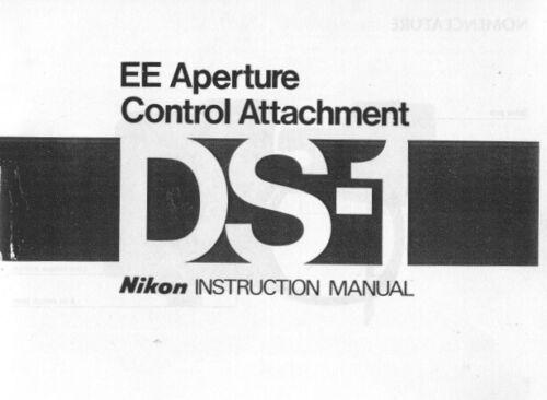 Nikon DS-1 EE Aperture Control Attachment Instruction Manual photocopy
