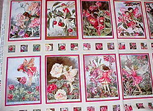 Flower Fairies Quilt Cotton Fabric Blossom Pink Panel Block Cicely Mary Barker