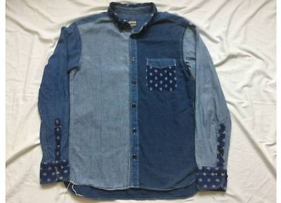 Used Momotaro Jeans Denim Shirt Blue Cotton Patchwork Sized-S indigo boro Japan