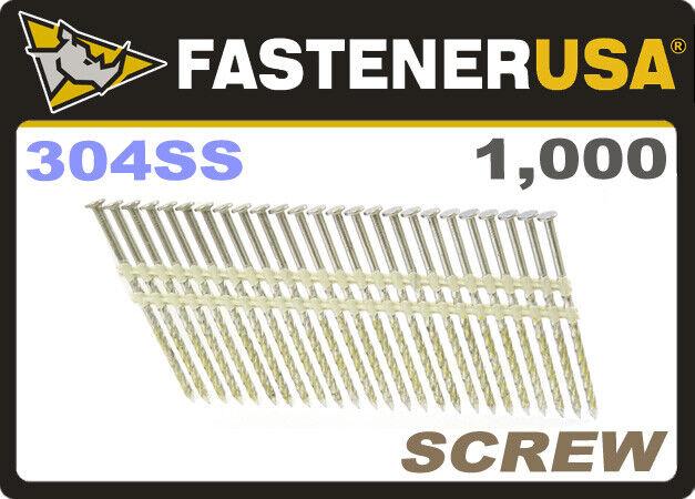 "3 1/4"" x .131 SCREW 304 STAINLESS STRIP NAILS 21 DEGREE 1M Box"