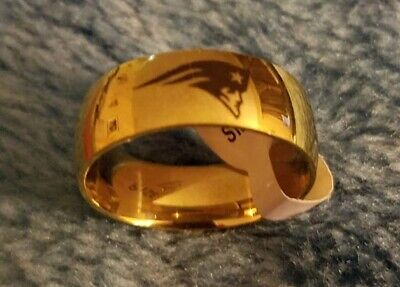 New England Patriots Football Ring Titanium Stainless Gold 6 7 8 9 10 11 12 -