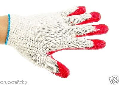 300 Pairs Red Latex Rubber Palm Coated Work Korea Safety Gloves -KORRED300