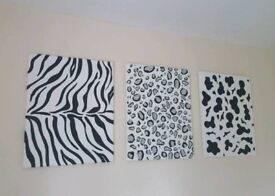 Animal Print Wall Canvas x3