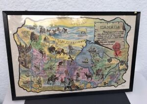 VINTAGE FRAMED 1950s RAWHIDE MAP OF CANADA