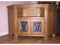 Oak corner tv unit