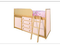 3 items! Girls Captains Bed AND matching double wardrobe AND matching set of drawers,all pale pink.