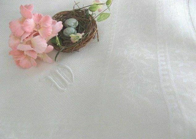"""AnTiQuE DAMASK Monogram * W * European HUCK LINEN Vintage BATH TOWEL 24"""" x 40.5"""""""