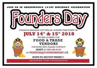 FOUNDERS DAY-Looking for Vendors and Visitors