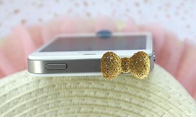 Jack Diamond Bling Bowknot Anti-Dust Ear Cap Plugs Stopper For Cell Phone 3.5mm