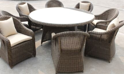 Outdoor CHUNKY ROUND Wicker Rattan 8 Seat Dining Table Setting Dining Table