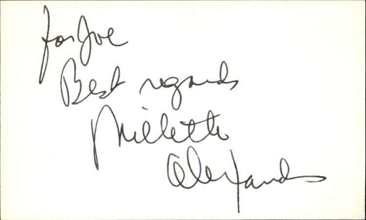 "MILETTE ALEXANDER GUIDING LIGHT Signed 3""x5"" Index Card"