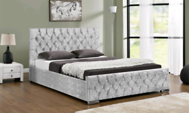 Double size bed crushed velvet