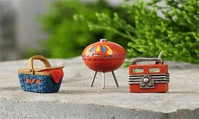 Miniature Dollhouse FAIRY GARDEN ~ Lakeside Camping Decor Set of 3 ~ NEW
