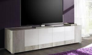 Mobile porta tv basso in acero e bianco lucido etnico madia soggiorno novita 39 ebay - Mobile basso per soggiorno ...