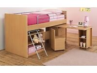 Dreams Hampshire Midsleeper with desk ladder and chair