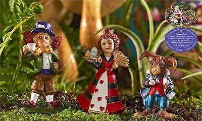 3 Mini World Alice in Wonderland Figurines Mad Hatter Queen  March Hare Fantasy