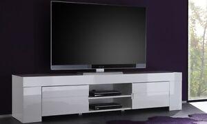 Dettagli su MOBILE PORTA TV BASSO LACCATO BIANCO MODERNO SALOTTO