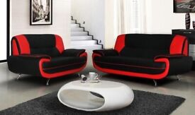 SALE ON FURNITURE - AVAILABLE IN 4 DIFFERENT COLORS CAROL 3+2 LEATHER SOFA-BLACK RED WHITE & BROWN