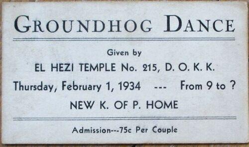 Ellwood City, PA 1930s Dance Card: Dramatic Order, Knights of Khorassan/Pythias