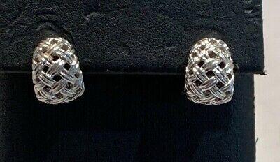 Jean Vitau 18K Basket Weave Earrings 2002 LIMITED WHITE GOLD RARE!!!