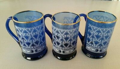 3-VTG COBALT BLUE GLASS MUGS☆HAND BLOWN☆Textured Design☆Gold Trim☆Original Work☆