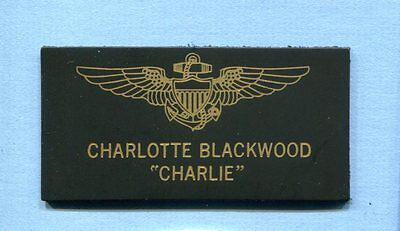 CHARLOTTE CHARLIE BLACKWOOD TOP GUN MOVIE COSTUME NAVY SQUADRON NAME TAG PATCH (Charlie Top Gun)