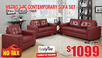 Metro 3pc LeathAire Sofa Set Now On Sale for $1099 Tax In!!!