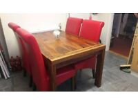Solid wood dining table with 4 Faux Leather Chairs