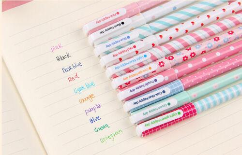 10pcs/lot Cute Fashion Office School Accessories Gel Pens 0.38mm Pen Colorful