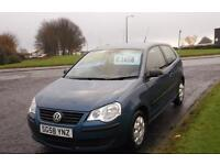 VOLKSWAGEN POLO 1.2 2008 E 3 DOOR,MET BLUE,DEMO+1 LADY OWNER,F.S.H