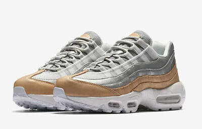 NIKE AIR MAX 95 SE PRM TRAINERS UK 3.5 EU 36.5 WOMENS AH8697-002 SILVER LEATHER