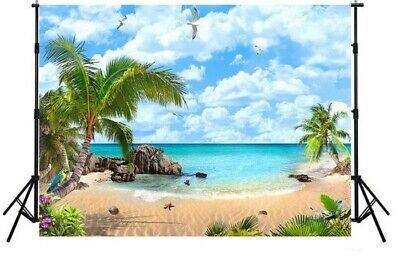 7x5FT Sea Beach theme Hawaii Tropical island wall backdrop party Background (Beach Party Backdrop)