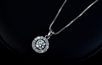 Gorgeous 3 Ct Round Diamond Halo Pendant Necklace 14K White Gold Plated