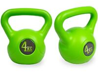Pair of 4kg kettlebells weights fitness gym vinyl