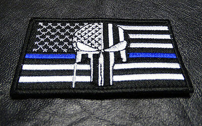PUNISHER SKULL USA FLAG POLICE THIN BLUE LINE TACTICAL HOOK LOOP PATCH
