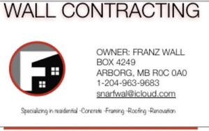 General contractor; Concrete; Framing; Roofing;