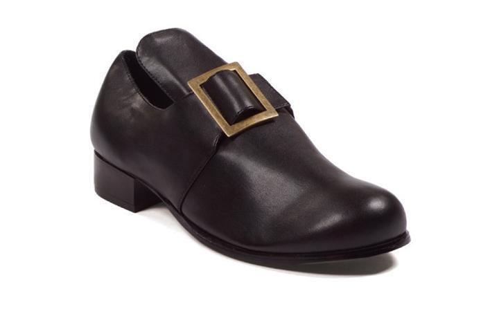 Black Colonial Pilgrim Puritan 17th Century English Historical Costume Men Shoes