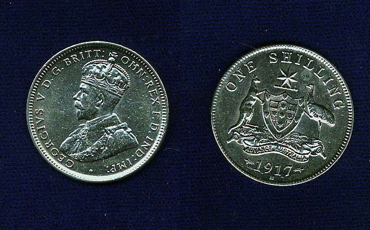 AUSTRALIA GEORGE V 1917-M 1 SHILLING SILVER COIN  XF/AU, NICE COIN!