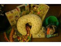 Baby bundle. Bouncer, bumbo, door jumper, wrap, playmat, carrier, cushion