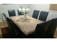 Marble dining room table and 8 chairs